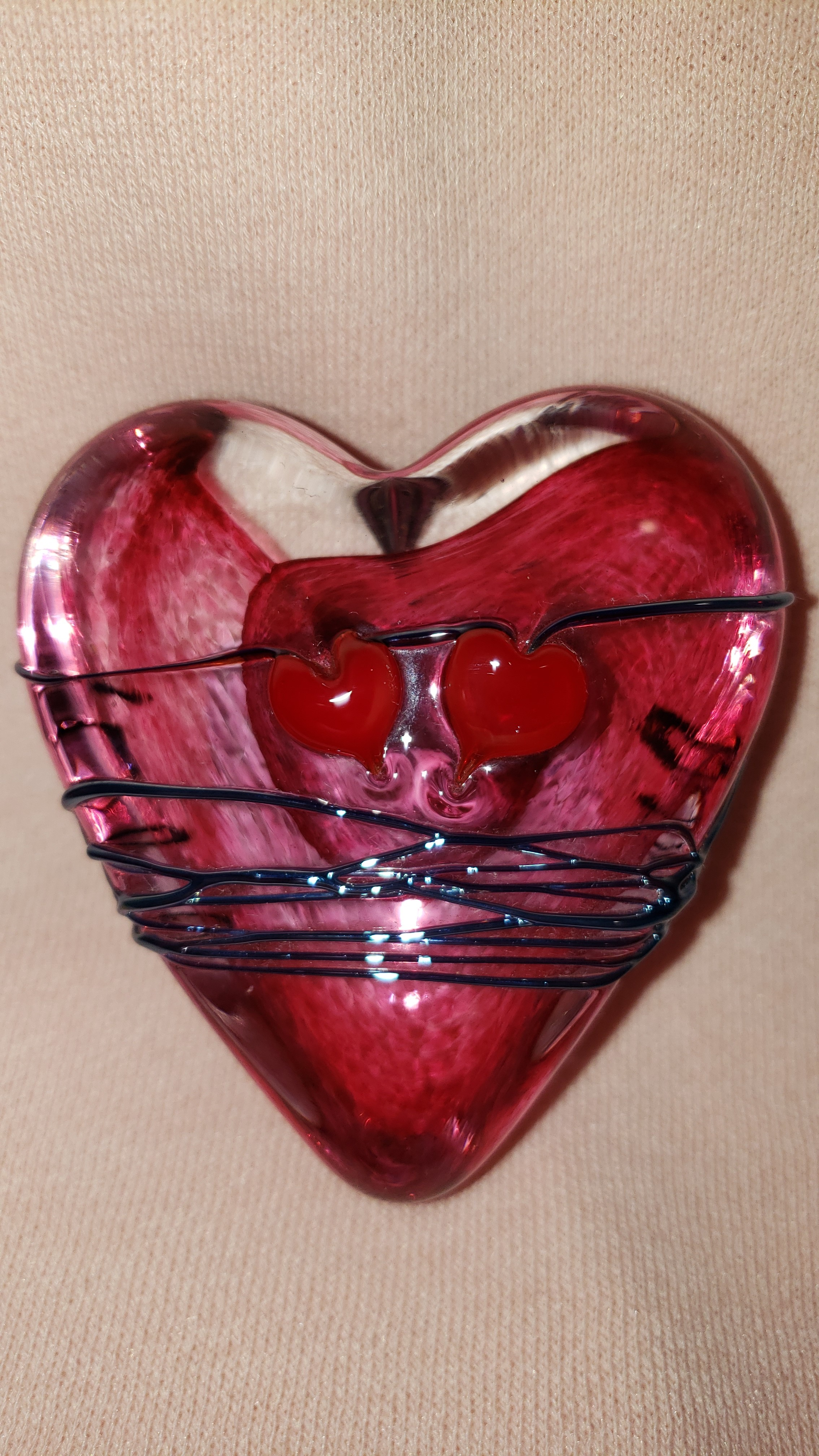 Pink Glass Heart Paperweight w/ Silver Drizzle& hearts - by David Salazar As Seen In...