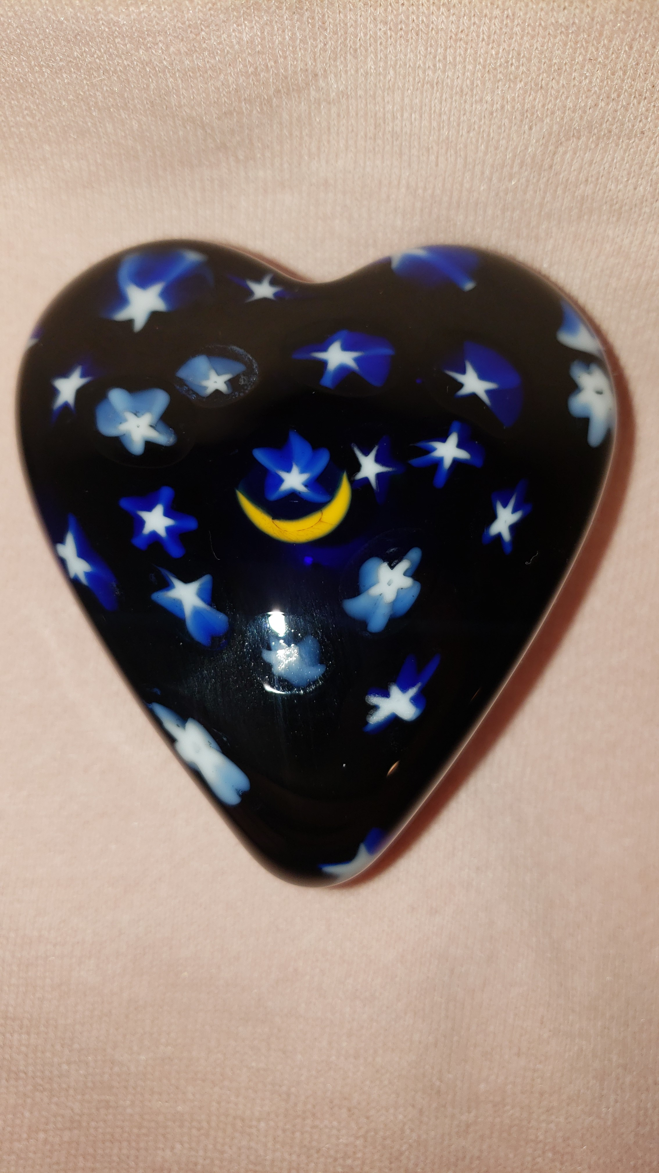 Moon and Stars Glass Heart Paperweight - by David Salazar As Seen In...
