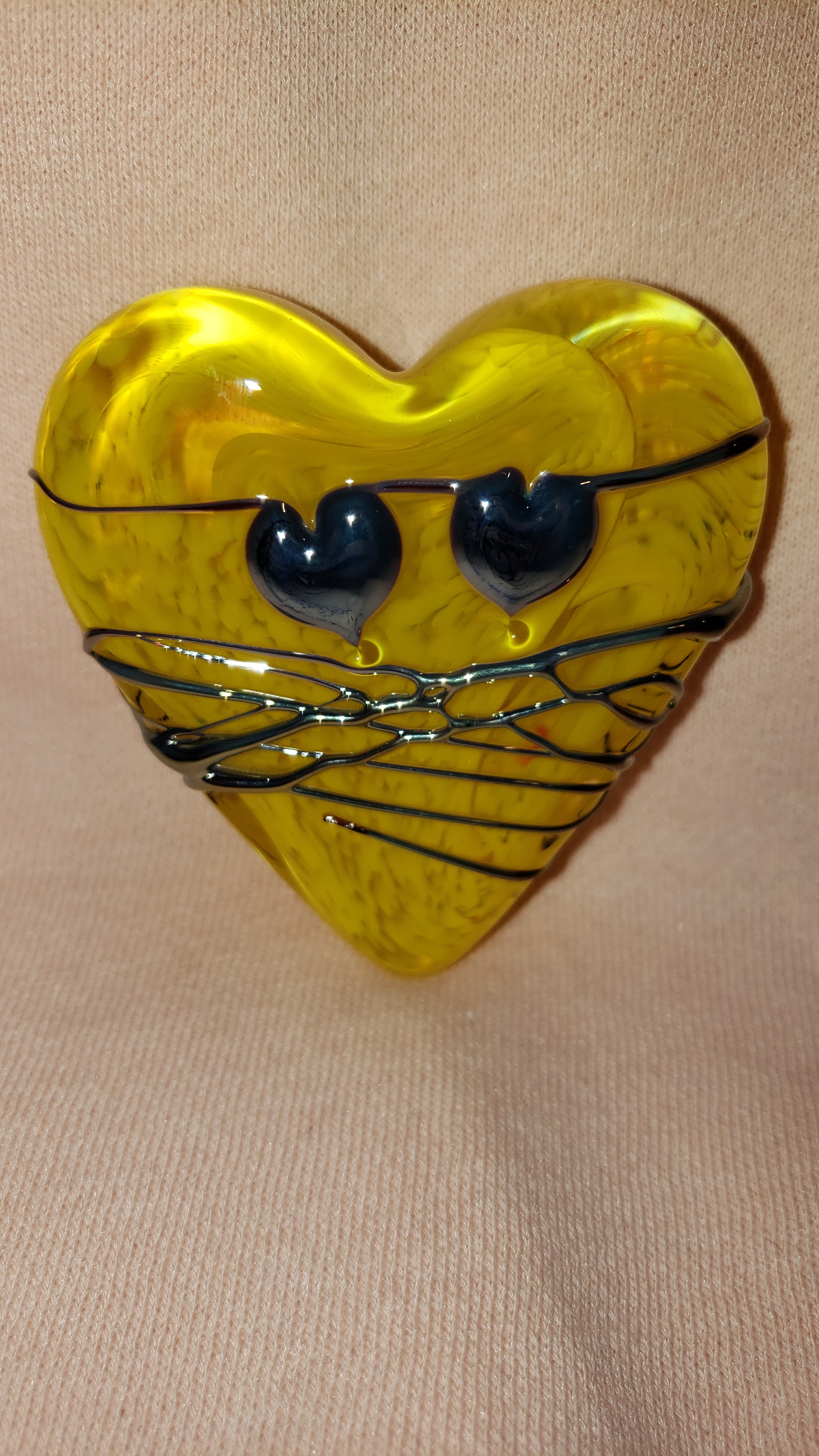 Yellow Glass Heart Paperweight w/ Silver Drizzle & hearts - by David Salazar As Seen In...