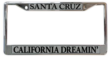 "santa cruz license plate frame ""California Dreaming"""