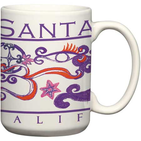 Santa Cruz rita peck ceramic coffee mug