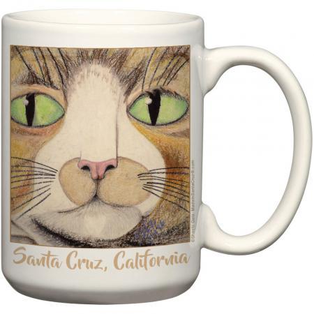 santa cruz cat mug by shashi gies