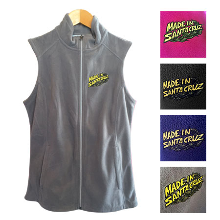 Made in santa cruz embroidered fleece vests