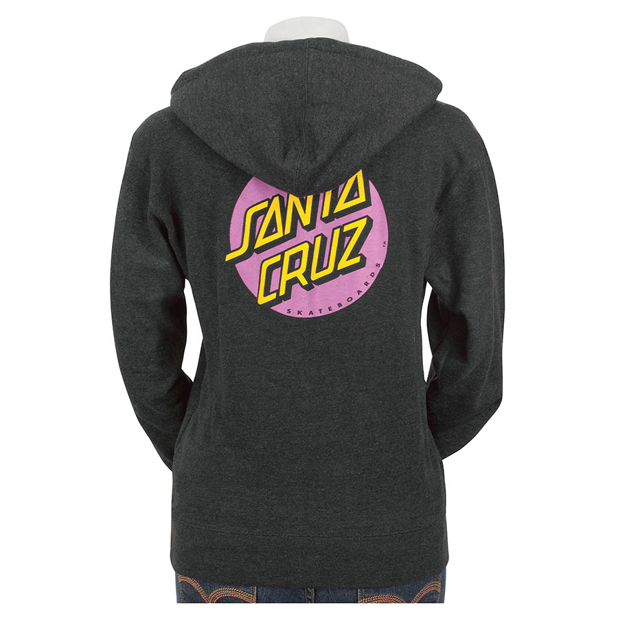 Womens Sweatshirt Pullover Santa Cruz Pink Dot Charcoal