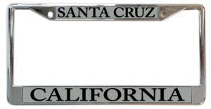 license plate frame Santa Cruz California