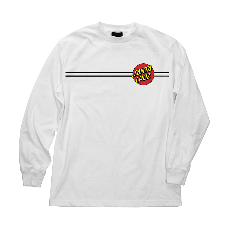 Mens T-shirt Long Sleeve Santa Cruz Classic Dot (White)