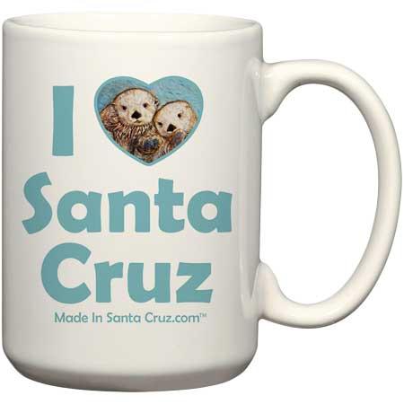 santa cruz i love otters ceramic coffee mug