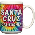 santa cruz tie dye ceramic coffee mug