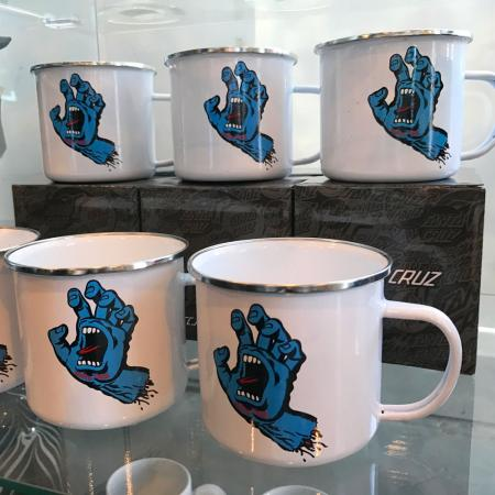 screaming hand, mug, tin, cup